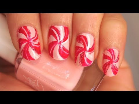 Pink Peppermint Candy Nails
