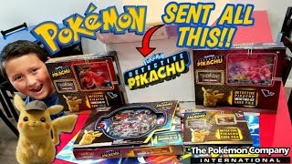 POKEMON SENT US A MYSTERY BOX FULL OF DETECTIVE PIKACHU POKEMON CARDS!! TONS OF GX CASE FILES!