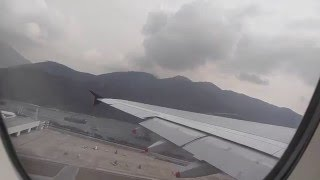 singapore airlines a380 takeoff hong kong to sinapore economy class upper deck