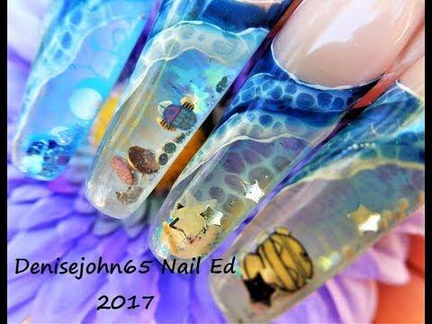 Waves & Seafoam Painting -----Alcohol Ink & Gel -- NAIL Painting On Aquarium NAILS