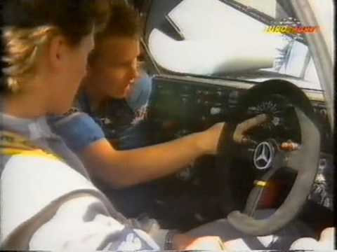 Some behind the scenes footage. And look who's there too: Michael Schumacher http://en.wikipedia.org/wiki/Mercedes-Benz_C11 .