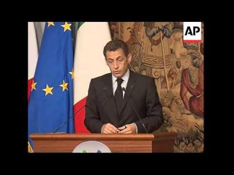 Berlusconi and Sarkozy presser on sidelines of food summit