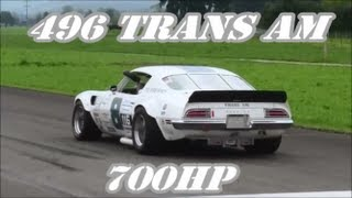 "1971 Pontiac Trans Am ""496"" V8 with 700hp + 860Nm (Sidepipes) is Really Fast @ Drag Race"