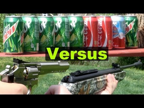 Air Guns Shooting Cans (Pellet. BB. and Airsoft) in Slow Motion