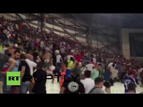 France: Russian fans storm English fan sector at Marseille stadium