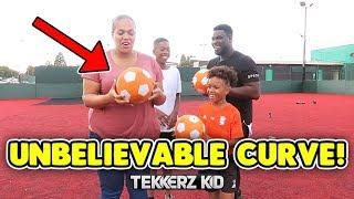 Insane SWERVE & CURVE Freekicks Challenge   Tekkerz Kid & Romello vs Mum & Dad