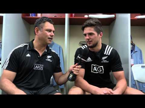 Tabai team talk after the Maori All Blacks win v Fiji
