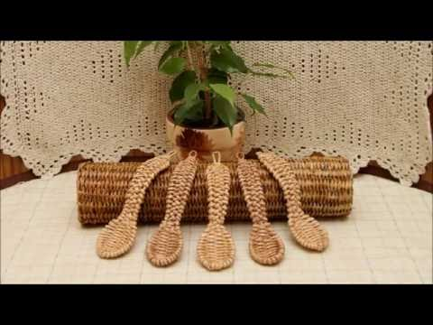 Плетение ложки из бумажной лозы.