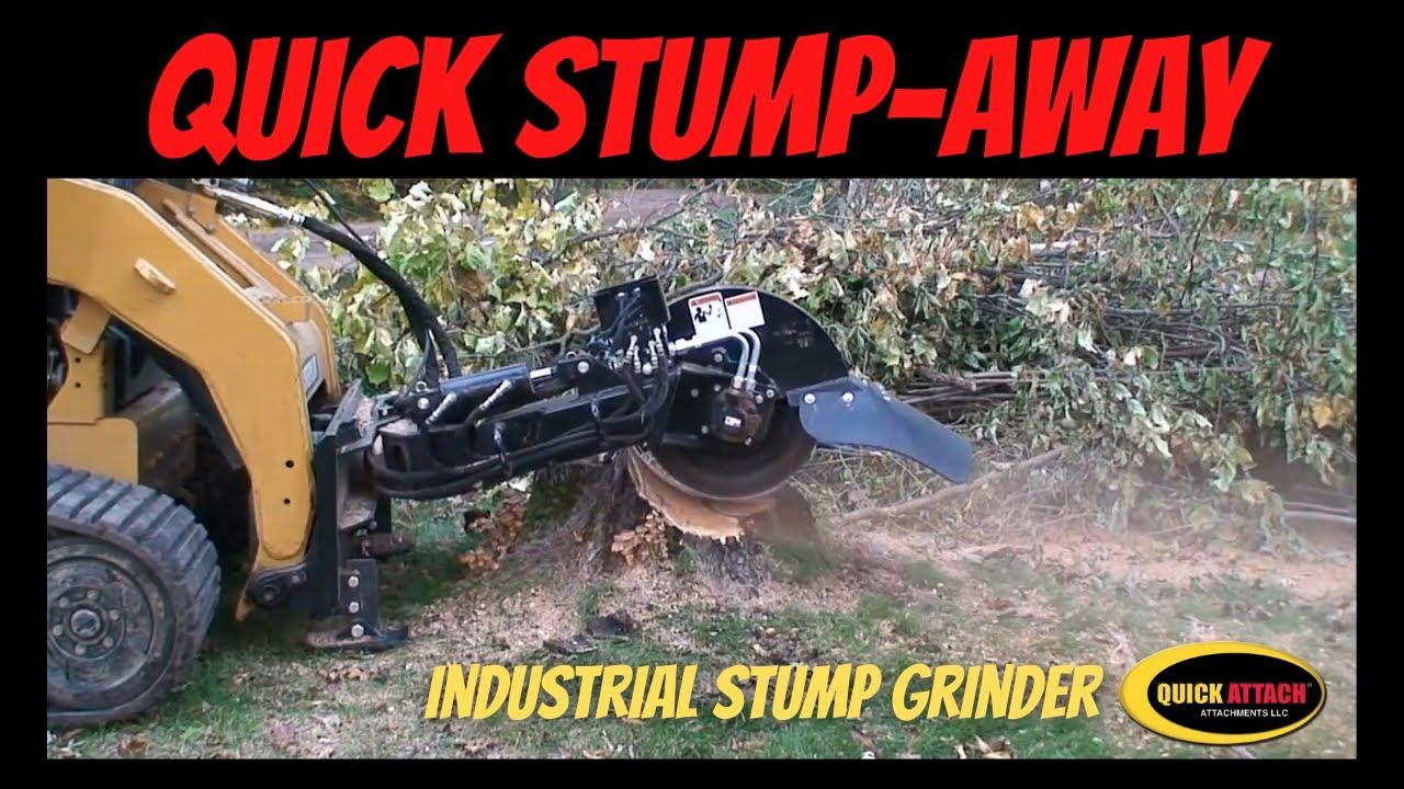 Quick attach stump grinder skid steer attachment video youtube