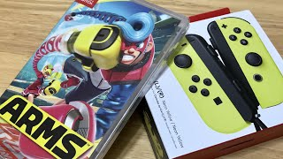 Nintendo Switch Neon Yellow JoyCons Unboxing! Arms Unboxing + Gameplay! 5 year-old girl can Play!