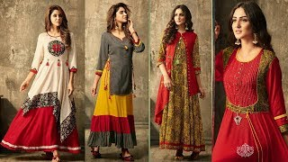 Designer Long Kurti/Dresses | Stylish Fancy Embroidered Double Layer Kurti For women's|Trendy India1