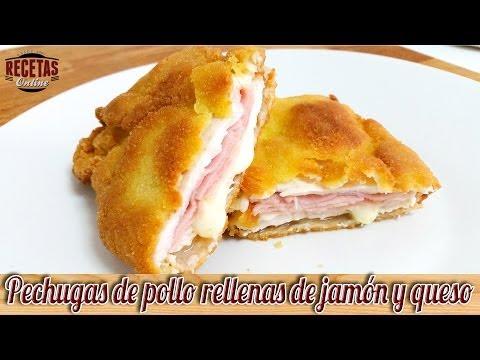 Pechugas de pollo rellenas de jamón y queso o Cordon Bleu - Recetas de cocina