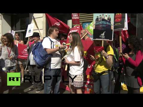 UK: 'We're not lovin' it!' McDonald's workers protest for higher pay