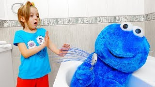 Girl playing with Blue Guest Video for Kids