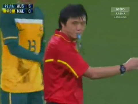 Soccer Player Tackle Referee (Australia v Malaysia)