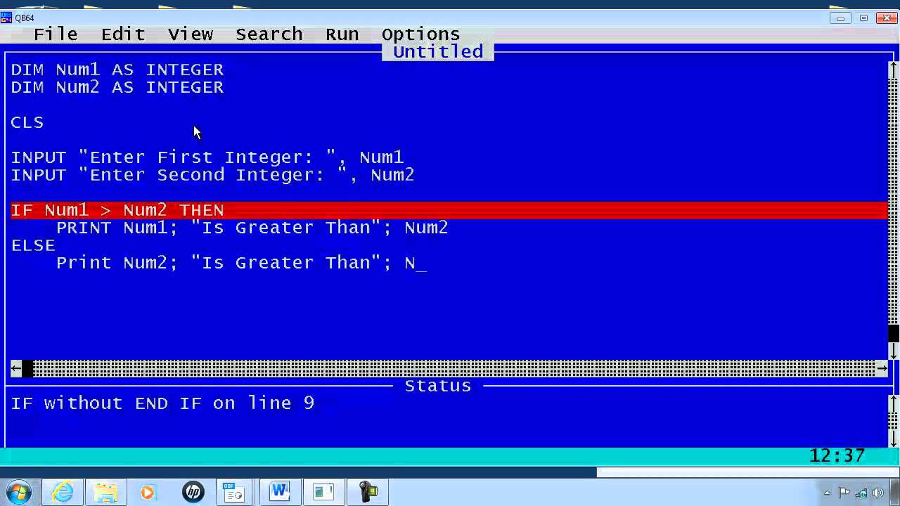 file to hold the directory listing from a command line dir command  file to hold the dqbasic syntax