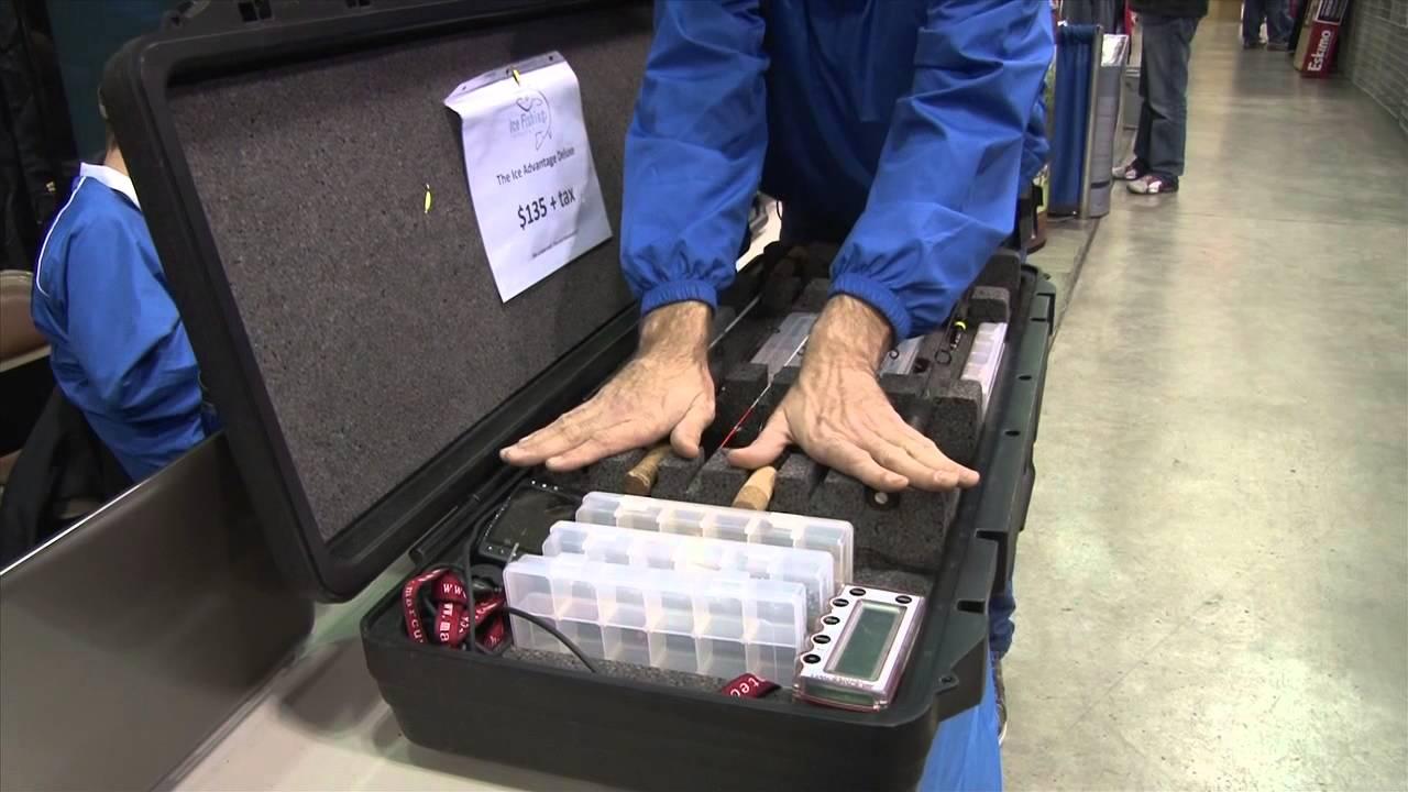 Ice fishing innovations advantage ice rod box youtube for Ice fishing rod case