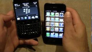 Blackberry Bold 9900 vs iPhone 4 (1080p HD)