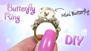 Butterfly Crystal Ring Tutorial // DIY Miniature butterfly Jewelry