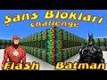 Şans Blokları Challenge Batman vs Flash Yarışıyor Örümcek Çocuk Minecraftta Çizgi Film Gibi