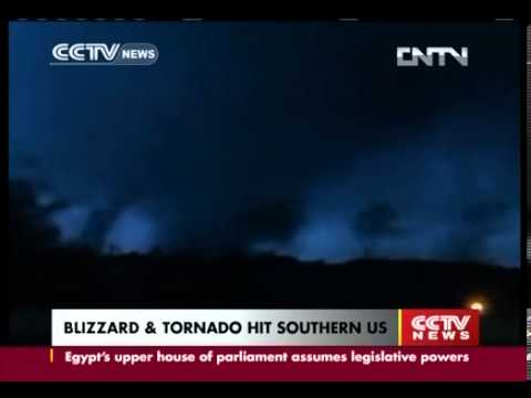 Video Blizzard and tornado hits Southern US CCTV News