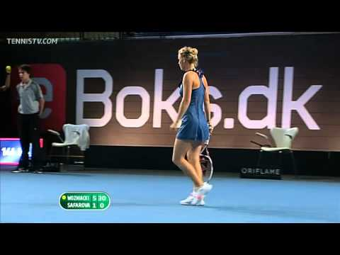 WTA Copenhagen 2011 Final - Caroline Wozniacki backhand passing shot