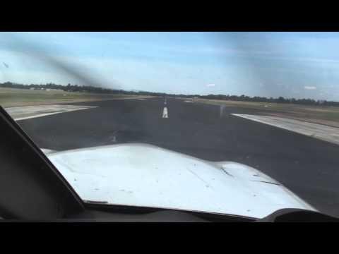 Landing on runway 11 at Gunnedah in Piper Archer III VH-RCR after a short flight from Lake Keepit.