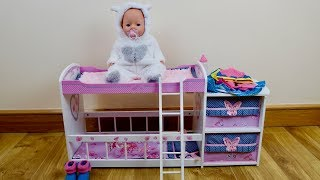 Baby Born Baby Annabell Care Routine Set up baby Dolls bedroom &  Baby Dolls Sleep Nursery Rhymes