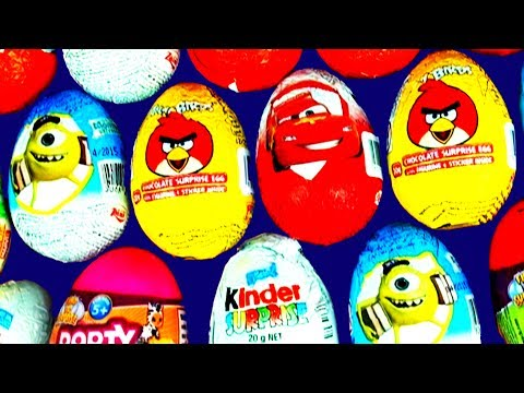 Surprise Eggs Kinder Disney Princess Cars Spongebob Angry Birds Play Doh Mickey Minnie Barbie Thomas