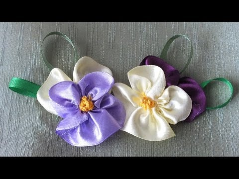 цветок Анютины глазки из лент за 5 мин Quick & Easy Satin Ribbon Flower - Tutorial