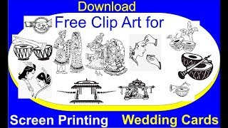 Download Free Clip Arts for screen printing wedding card