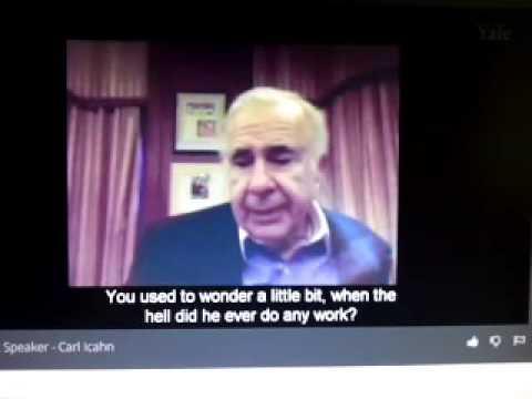 Carl Icahn @Yale (Video Extract of billionaire Carl Icahn on hiring)