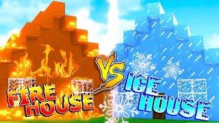 Minecraft FIRE HOUSE VS ICE HOUSE - House vs House Build Battles