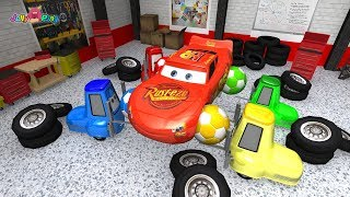 Learning Color Disney Pixar Cars Lightning McQueen mack truck repair center Play for kids car toys