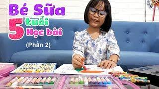 Học bài cùng bé Sữa 5 tuổi ♥ Tô màu ngôi nhà của em ♥
