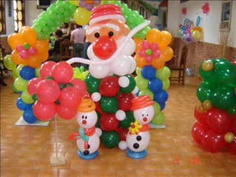 Curso de decoracion artistica con globos de navidad youtube - Decorar con globos ...