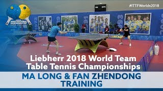 Ma Long & Fan Zhendong Training | World Team Championships 2018