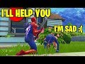 This kid was sad so I helped him get a WIN! (I USED SPIDERMAN SKIN!)