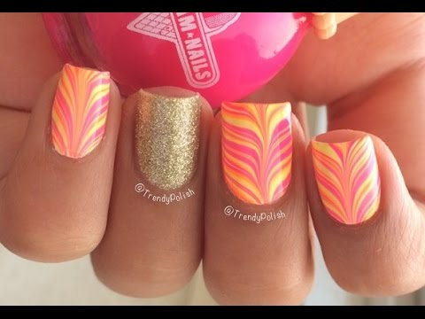 Neon Water Marble Neon Water Marble Nail Art