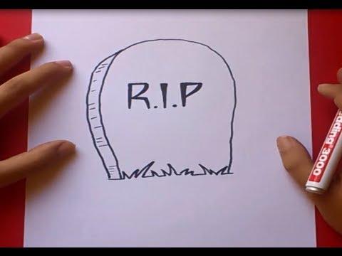 Como dibujar una lapida paso a paso How to draw a tombstone