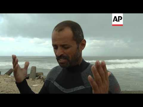 Surfers ride high as strong winds whip Gaza coast