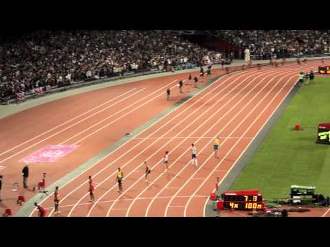 Men's 4x100m Relay Final London 2012 - Usain Bolt, Yohan Blake, World Record (HD)