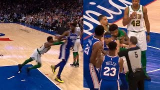 Marcus Smart shoves Joel Embiid then Joel wanna fight & Smart gets ejected from game