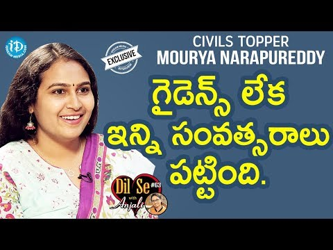 Civils Topper Mourya Narapureddy (100th Rank) Exclusive Interview || Dil Se With Anjali #64