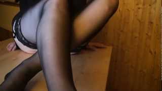 Sexy girl takes off her dirty stinky stockings