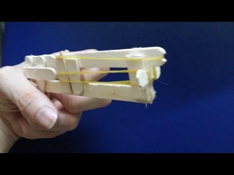 Cara membuat pistol menggunakan es loli tongkat | gun karet gelang