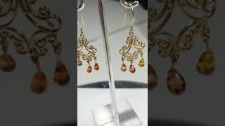 3. 14KT Gold Orange Sapphires(Approx. 3ct) Filigree Design Earrings