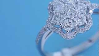 1.50CT DIAMOND FLOWER CLUSTER RING 14KT GOLD