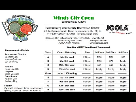 2016 Windy City Open at Schaumburg Table Tennis Club