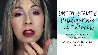 Green Beauty Holiday Make-up Look- Full tutorial-Elate Cosmetics, RMS Beauty, Anastasia Beverly Hill